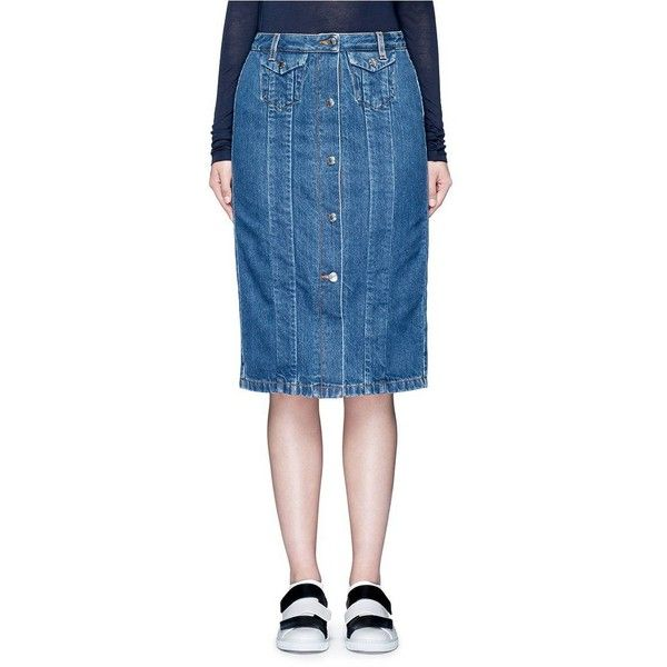 Acne Studios 'Garea' button front denim pencil skirt (13,755 INR) ❤ liked on Polyvore featuring skirts, knee length denim pencil skirt, blue skirt, button front skirt, denim pencil skirt and button front denim skirt