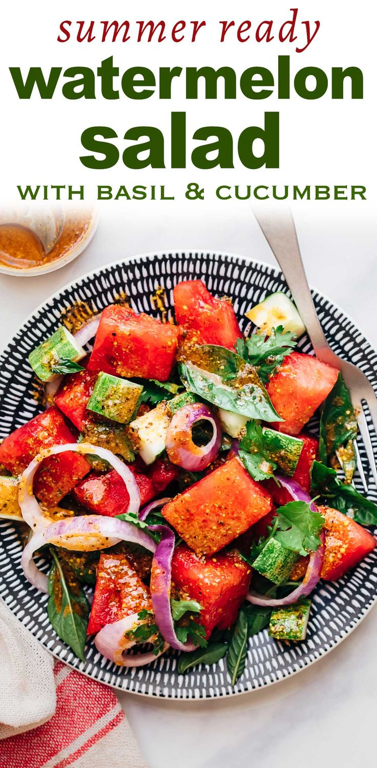 Watermelon Salad with Basil and Cucumber