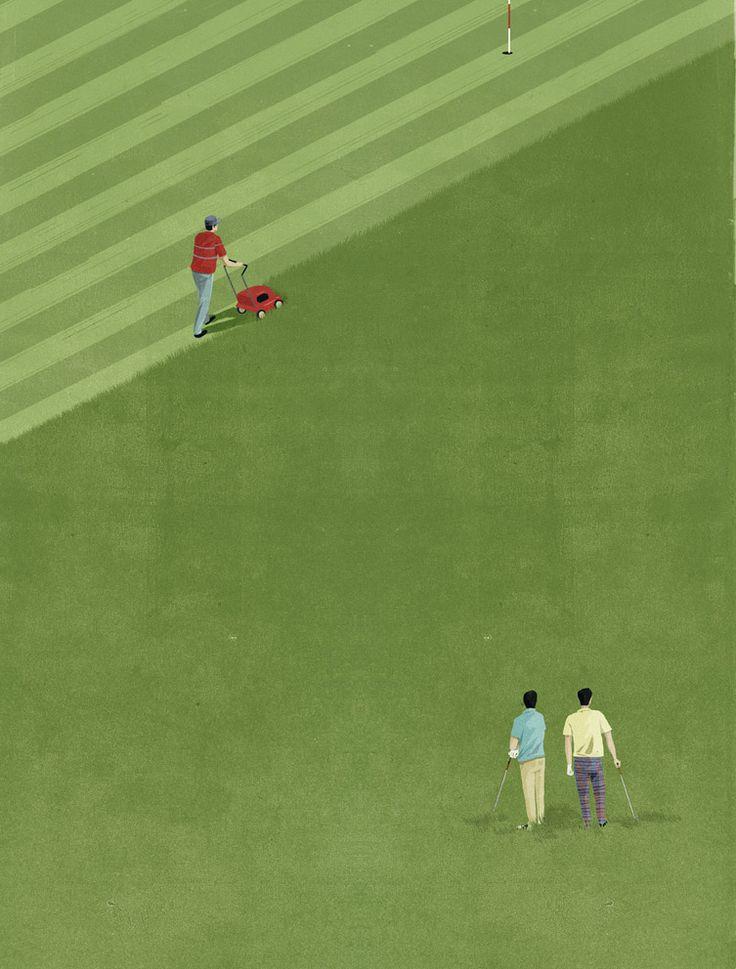 Levelling the field ::: Illustration by SHOUT for Plansponsor Magazine ::: www.dutchuncle.co.uk/shout-images