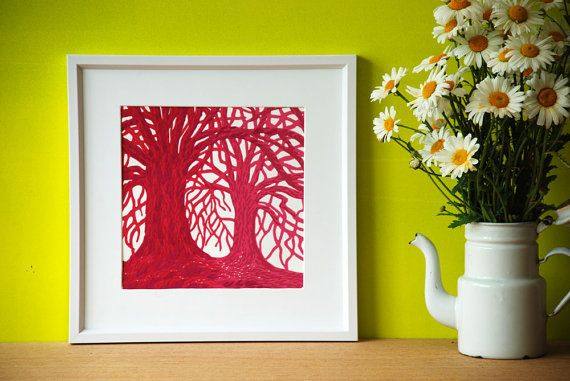 Handprinted Reduction Linocut by Eveline van der Eijk