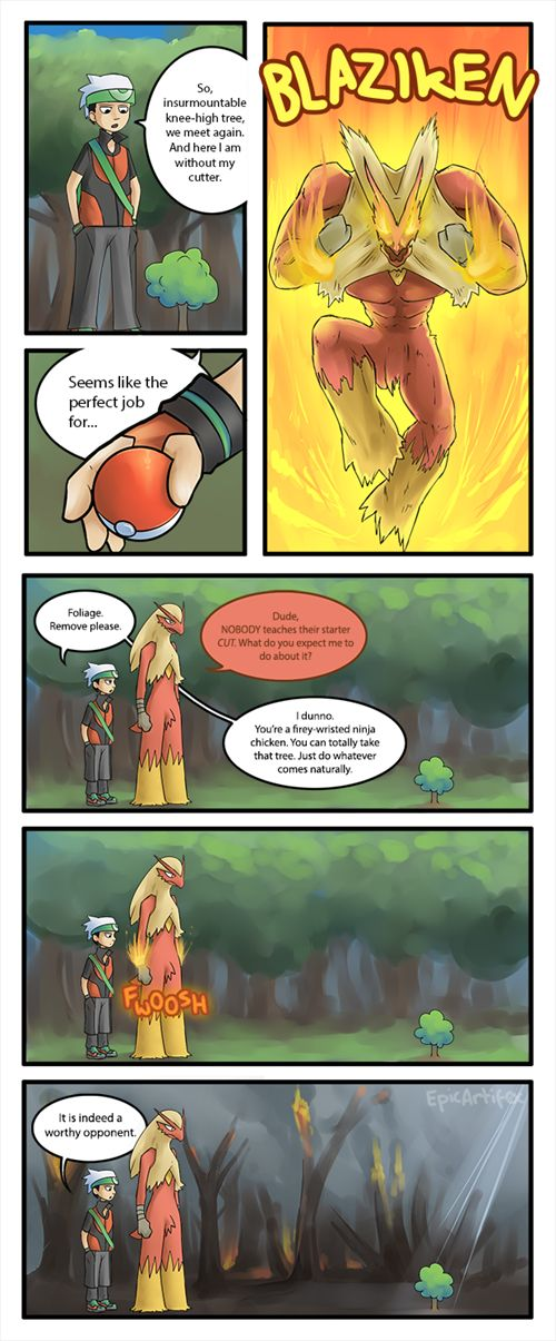 Always thought this was hilarious. Most formidable opponent in Pokemon. #Truth #lols #video #game #Funny #Videogame #Gaming #References #Reality #Real #Life #Joke #Geek #humor #Funny #Pokemon #Nintendo #Laugh #Cut #Tree #HM01