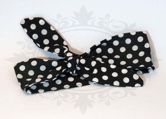 Rosie bandana fascia capelli nera pois bianchi-  rockabilly pin up rock'n'roll retro style bow 50s