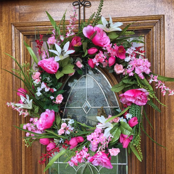 Spring Wreath For Front Door Valentines Day Easter Double Wreaths Decor Pink