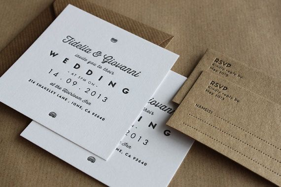 Letterpress Wedding Invitations //  Made to order  by MapleTea, £1.85
