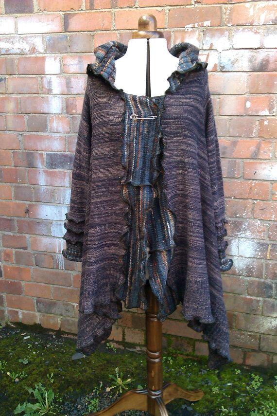 Upcycled hoodie. Brown/multi coloured hoody.