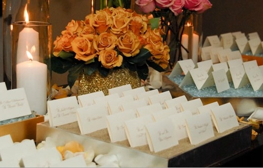 Set the tone of your reception with a place card table that reflects your wedding's themes and colors. It will give your guests a taste of what to expect for the rest of the night!     #wedding #stationary   http://www.thepaperdoor.net/