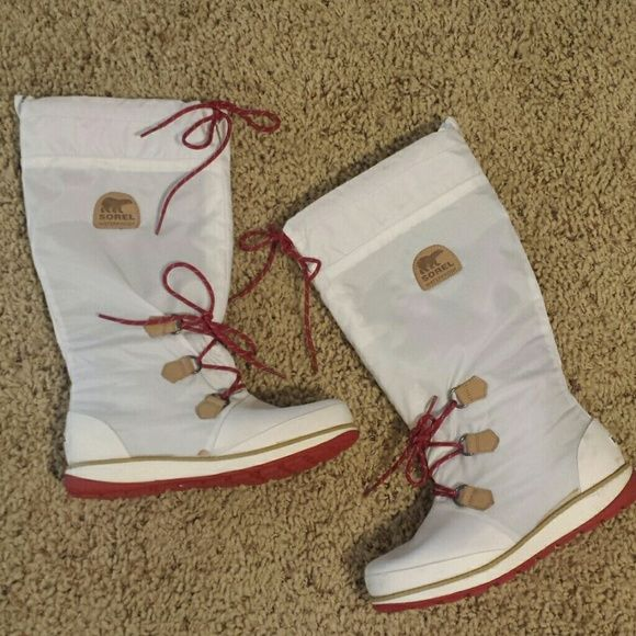 Sorel Waterproof Boots White Winter Pac Insulated Sorel Boots! Worn once! Brand new condition! SOREL Shoes Winter & Rain Boots