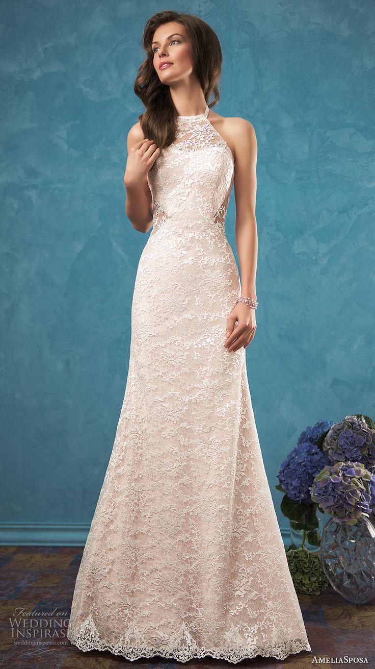 Cute AMELIA SPOSA bridal sleeveless sheer halter neck sweetheart neckline fully embellished bodice delegant modified a