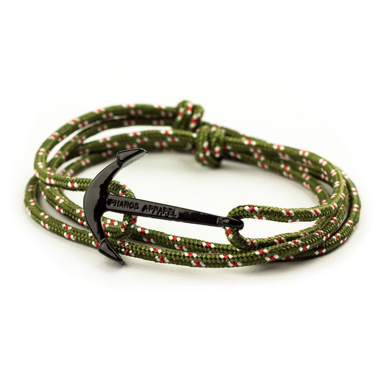 Olive Green Army Anchor Bracelet - Men Women Preppy Pharos Apparel Accessories