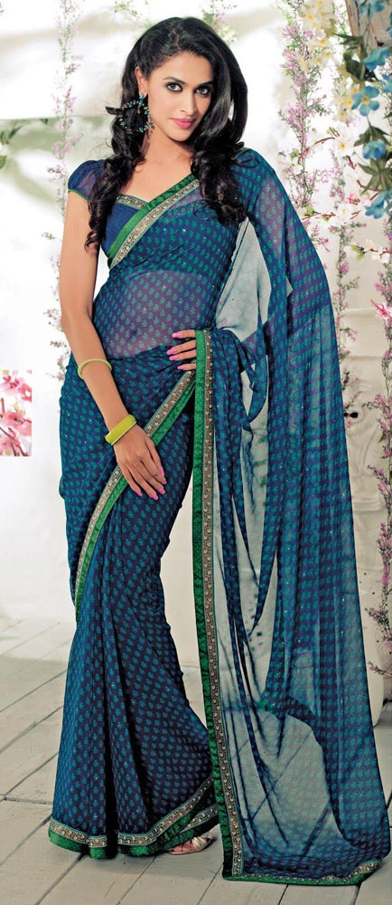 Beautiful Blue Georgette #Saree