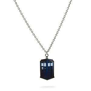 "ThinkGeek :: Doctor Who TARDISPhotorealistic TARDIS pendant made from steel 18"" long chain + 3"" extender Officially-Licensed Doctor Who merchandise $14.99"