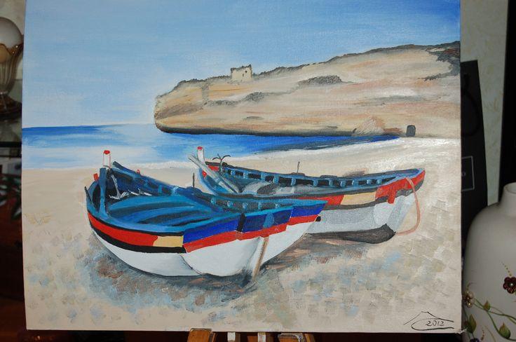 Barche in spiaggia, olio su tela. Immagine presa da un libro