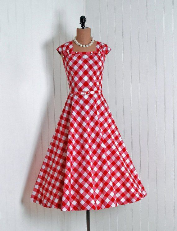 Etsy Transaction - 1950's Vintage Ruby-Red and White Gingham-Print Cotton Designer-Couture Sleeveless Ruched-Shoulders Belted Nipped-Waist Rockabilly Side-Pockets Bombshell Circle-Skirt Picnic Garden Wedding Cocktail Party Sun Dress and Matching Jacket