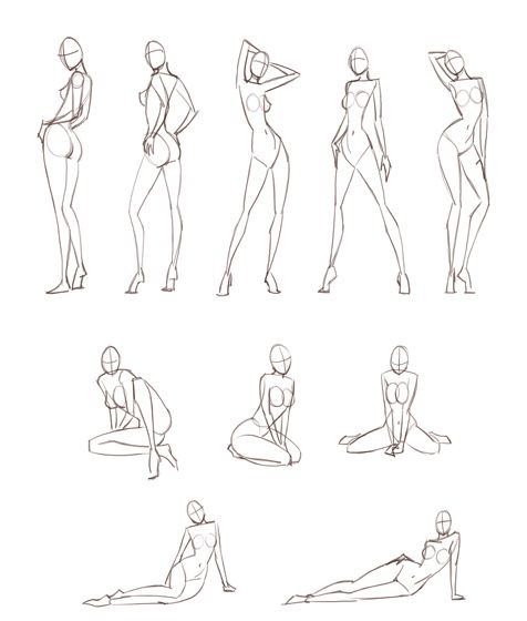 Females do not stand on their toes all the time like that, but these are good basic fashion and pin up poses