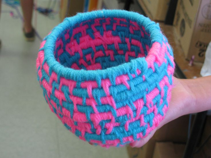 Woven Yarn Basket : Th grade coiled basket weaving approx quot tall lesson