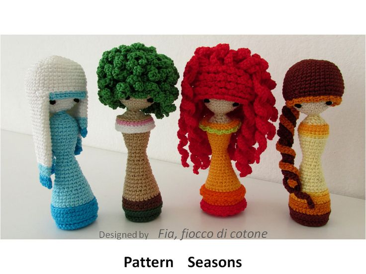 Pattern Seasons , miniature doll amigurumi crochet, princess doll, kokeshi doll, curly-haired doll, fashion doll - pinned by pin4etsy.com