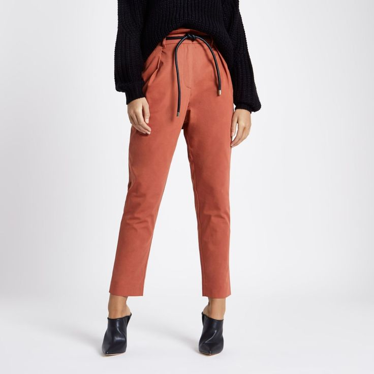 Burgundy paperbag waist tapered leg trousers