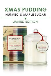 Glasshouse Fragrances Triple Scented Limited P.A. Edition Xmas Pudding Candle 350G