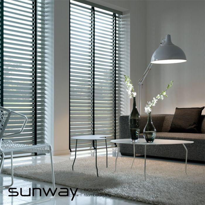 SUNWAY Houten jaloezieën zijn leverbaar in 35, 50, 70 en 75 mm brede lamellen.