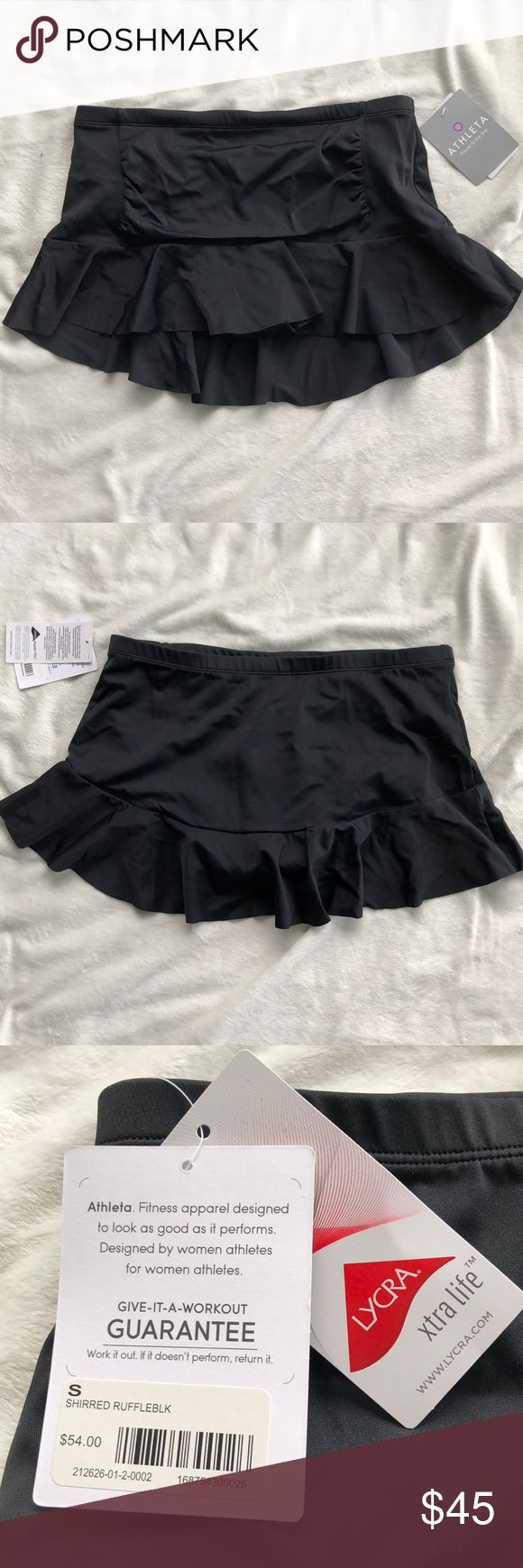 """NWT Athleta Shirred Ruffle Swim Skirt NWT Athleta Shirred Ruffle Swim Skirt.  Color Black. Size Small, Semi- Fitted, Outseam 10.5"""".  NEW With Tags, Excellent, Flawless Condition.  ⚡️Fast Shipping 🚫No Trades Athleta Swim Bikinis"""