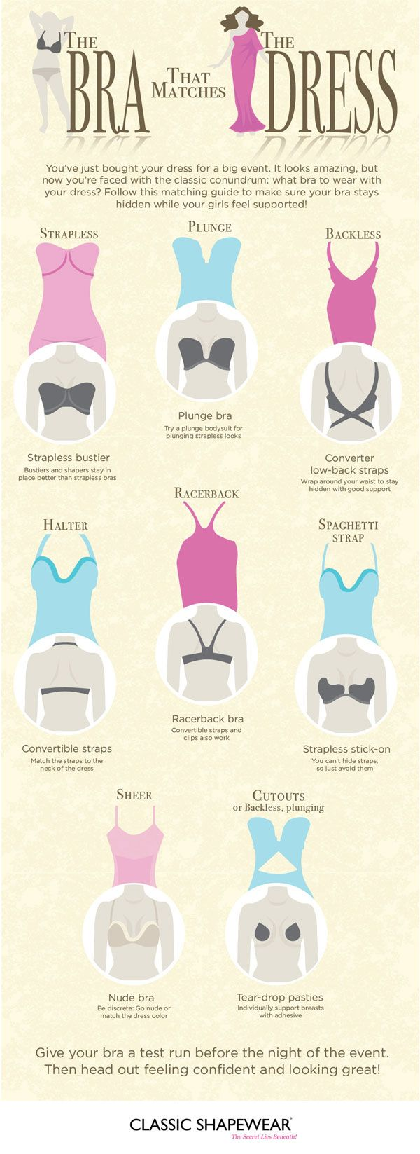 Follow this matching guide to make sure your bra stays hidden while your girls feel supported! Infographic!