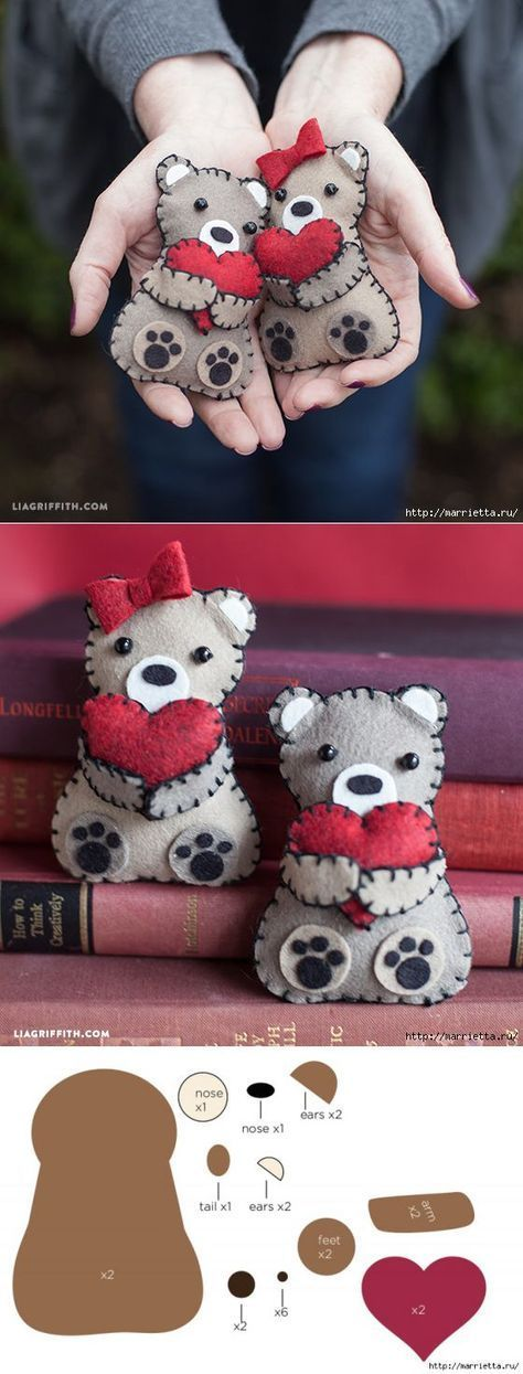 Teddy bear with valentines made of felt. Templates #feltanimalspatternstemplates