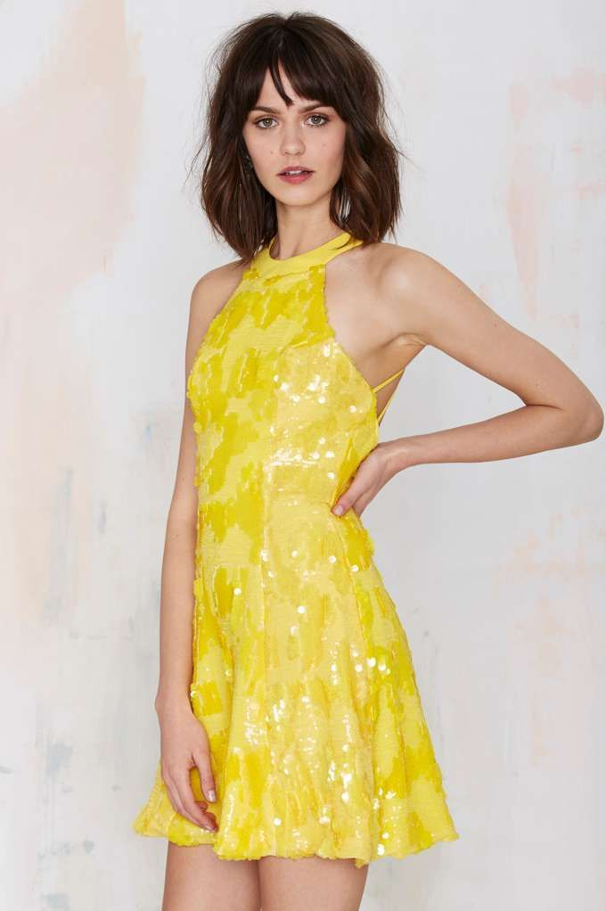 Dress the Population Anni Sequin Dress - Yellow - Going Out | Dresses
