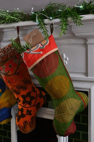 Recycled sari Christmas stocking, made by a social enterprise in Bangladesh | Decorator's Notebook