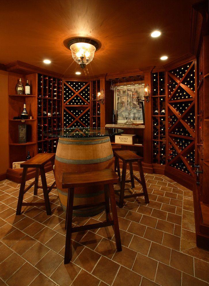 Bright Wine Barrel Furniture vogue New York Contemporary Wine Cellar Decorators with barrel table brown floor tile corner shelf dark stained wood molding tasting table wine
