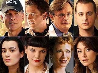 NCIS cast...up to a point - Mark Harmon (Jethro Gibbs)...Michael Weatherly (Tony Dinozzo)...David McCallum Dr. Ducky... Sean Murray (Tim McGee)... Coté de Pablo (Ziva David)...Pauley Perrette (Abby Sciuto)...Lauren Holly (Dir. Jenny)...Sasha Alexander (Kate Todd - killed off at end of season 2)...(Rocky Carroll Dir. Leon Vance - joined the cast later) - CBS - 2003-