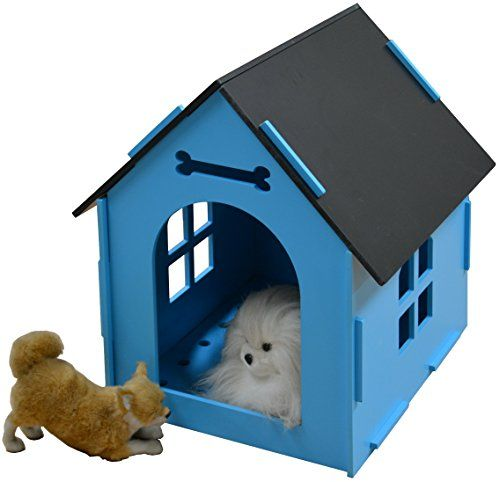 awesome ROYAL CRAFT WOOD Dog House Crate Indoor Kennel for Small Dogs, Cats, Pet Home with Door and Bed Mat (BLUE/PINK)
