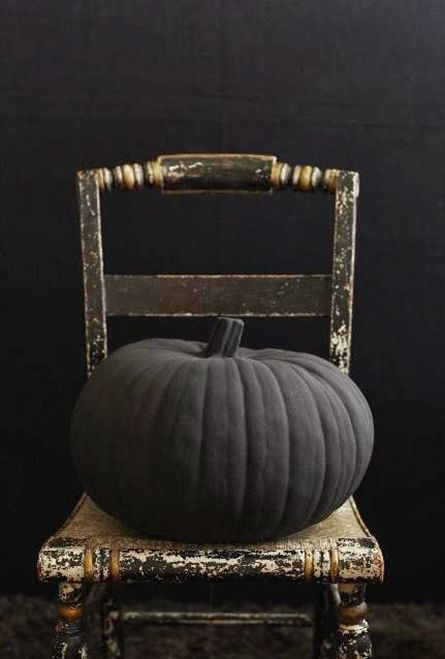 Matte black painted pumpkins make for great no-carve Halloween decor