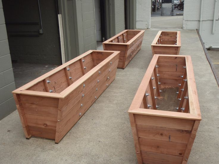Large redwood planter boxes made for tall bamboo for Wooden garden box designs