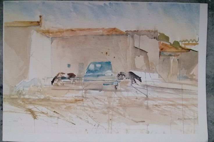 ''Stallbacken, Roquefure'' Akvarell 1985 83x50 cm Arne Isacsson