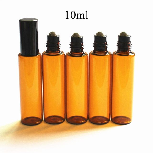 5pcs Pack 10ml Amber Glass Roll On Thin Glass Roller Vials Brown Essential Oil Bottle Sample Test Bottle Wi Essential Oil Bottles Refillable Bottles Oil Bottle
