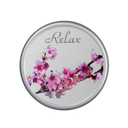 """Relax Cherry Blossom Bumpster Speaker - This bumpster bluetooth speaker features pink cherry blossom flowers with the word """"relax"""" above."""