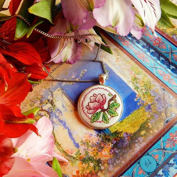 Pendant Magnolia with miniature crossstitch от Microstitch на Etsy