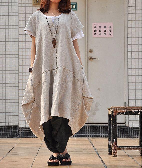 Damen Retro plus Größe Kleid lange Leinenkleid von Dressbeautiful