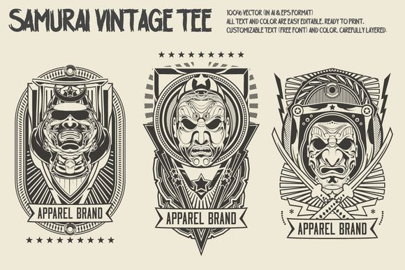 Check out Samurai Vintage Tee by roots on Creative Market