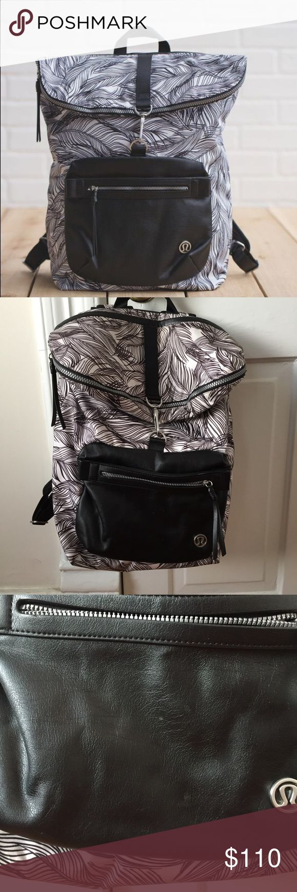 """Lululemon Kickin' It Backpack like new condition: there are 2 small spots... one inside one one front, barely noticeable. See photos I also included photos of the inside so you can see that it's in excellent condition.  There's a padded laptop pocket that fits up to a 15"""" laptop, and a pocket inside for a water bottle (see pictures). There's also a smaller pocket for accessories and a pocket for """"sweaty wet unmentionables"""" pocket.    💜 no offers because it's discontinued & hard to find. 💰…"""