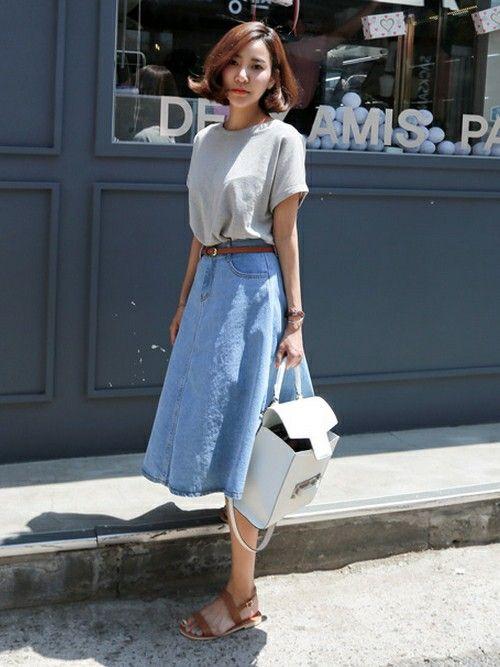 爽やかデニムは夏にぴったりのアイテム!人気・おすすめ・トレンドのAラインスカートのモテコーデ一覧♡