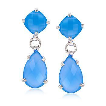 Ross-Simons - Blue Chalcedony Double Drop Earrings in Sterling Silver - #886532