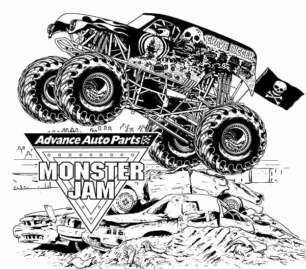 Grave Digger Coloring Page Elegant Grave Digger Coloring Pages At Getcolorings Monster Truck Coloring Pages Truck Coloring Pages Mermaid Coloring Pages