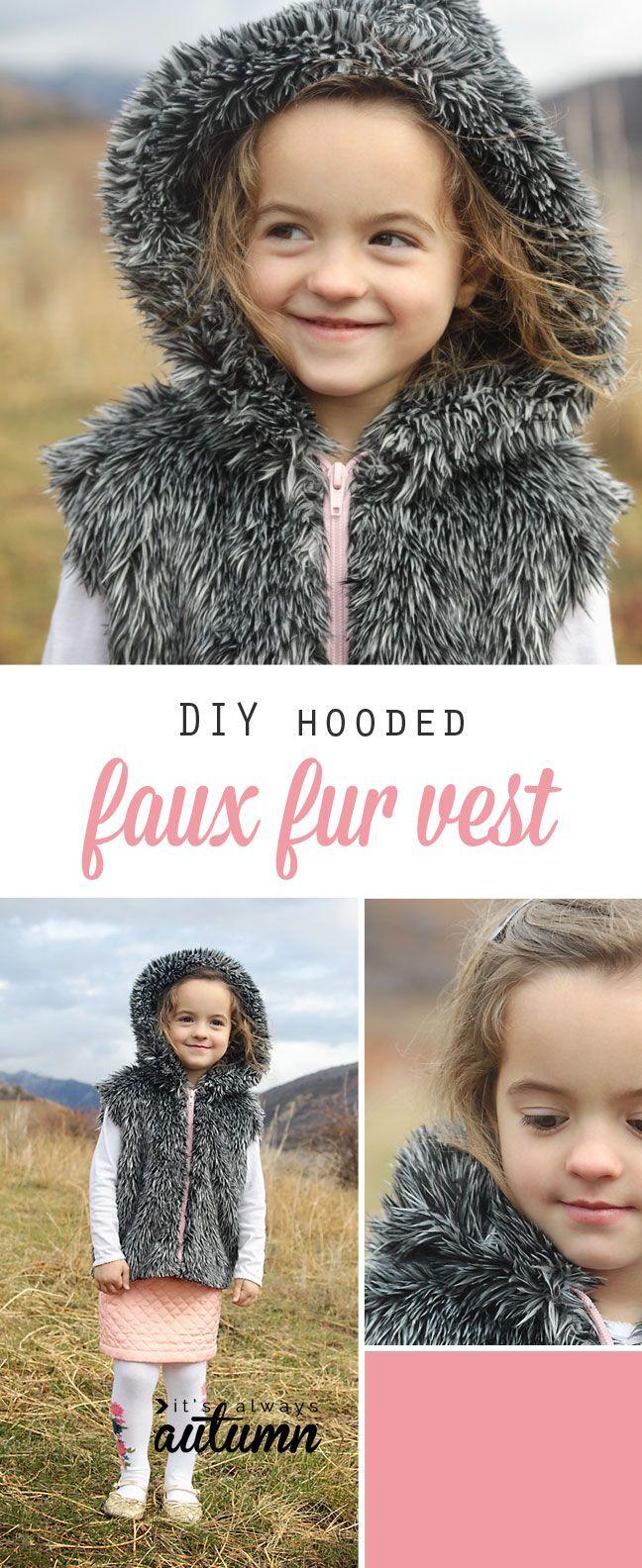 Easy DIY faux fur vest sewing tutorial.