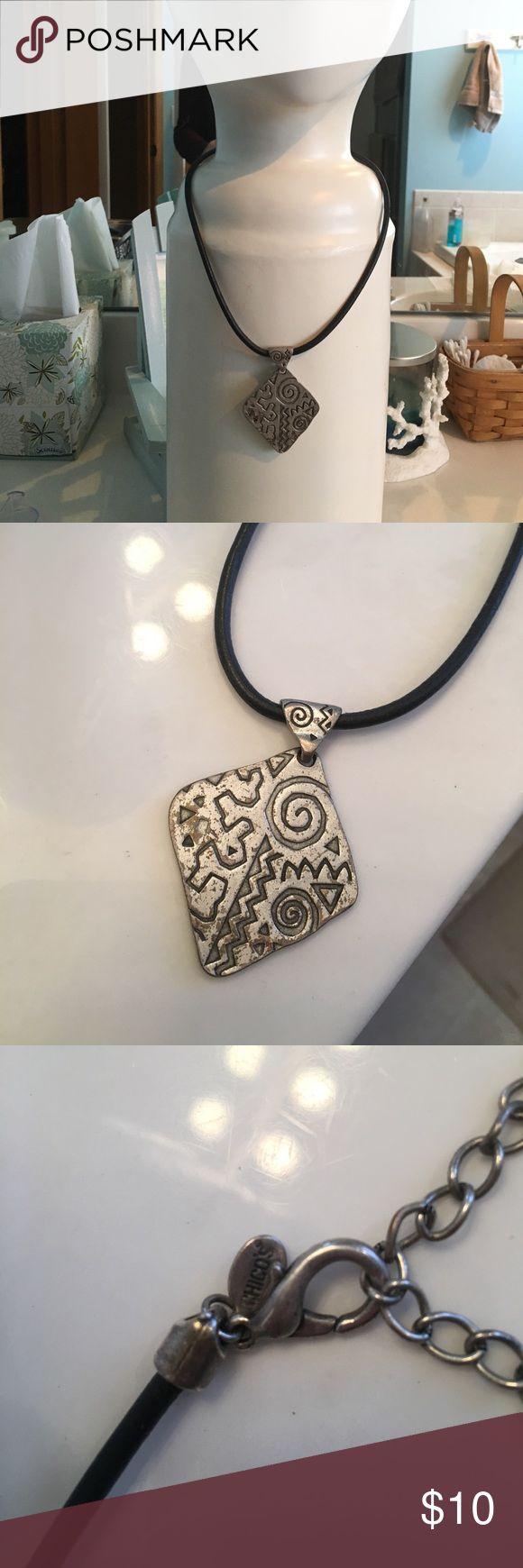 Chico's Black Leather Aztec Necklace Chico's Black Leather Aztec Short Necklace Chico's Jewelry Necklaces