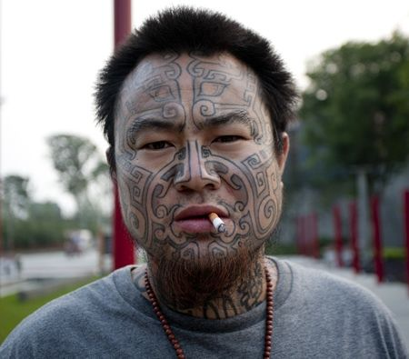 Image result for face covered in tattoos romihli for Asian face tattoos