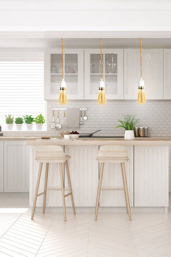 Single Pendant Lights Look Great Over Kitchen Islands Like These Single  White Pendant Light W/ Gold Stripe By Lightenstein.com #kitchenlighting ...