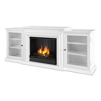 White Electric Fireplace Media Center Console