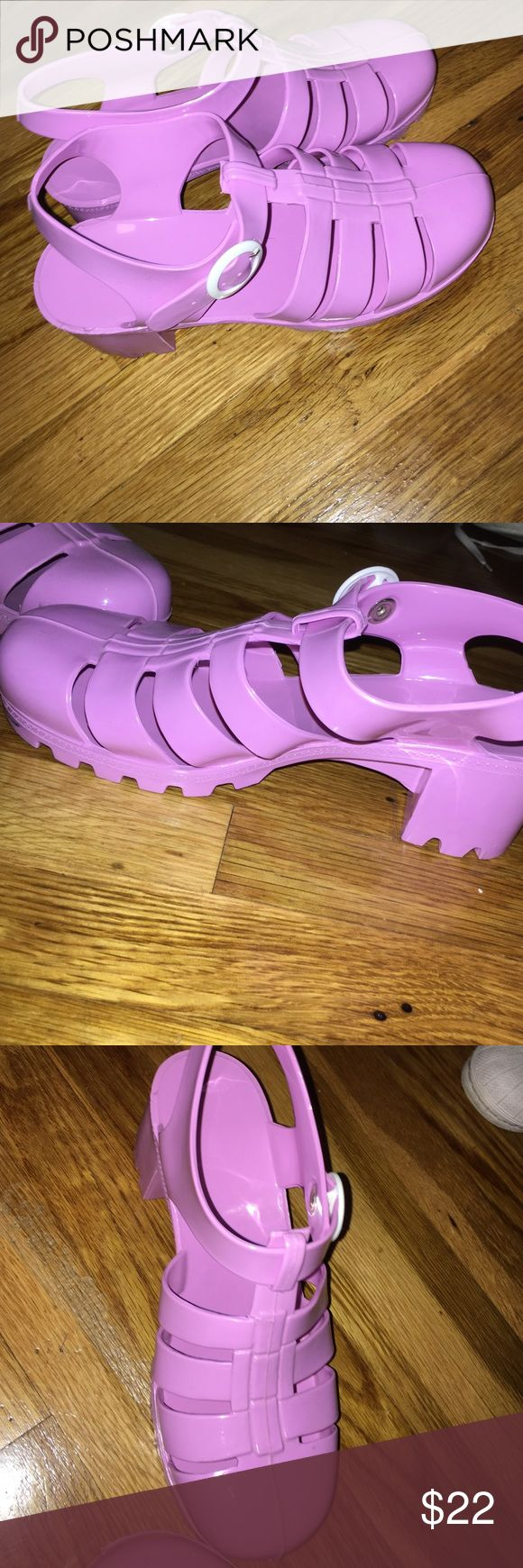 Lavender American Apparel Jelly Heels Worn twice. Selling them for this price because of authenticity. Love them!!! American Apparel Shoes Heels