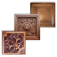 Several PVC Faux Copper and Styrofoam Ceiling Tiles.